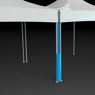 Liaison souple pour lier 2 tentes pliantes