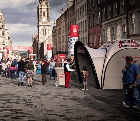 Stand street-marketing et tente publicitaire