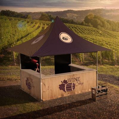 Tente pliante buvette avec impression pour vigneron ou marque de vin