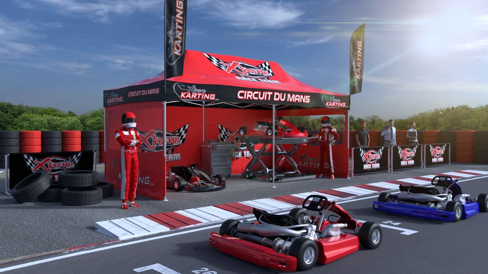 Tente pliante paddock Karting