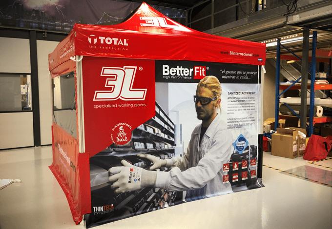 Tente publicitaire pour marque 3L