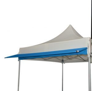 Marquise casquette de tente pliante : position horizontale