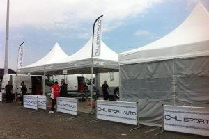 Tente de réception pour paddock rallye