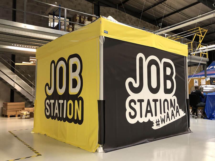 Stand parapluie personnalisé JobStation 3x3
