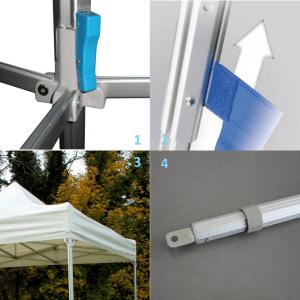 Installation de tente pliante barnum avec du vent