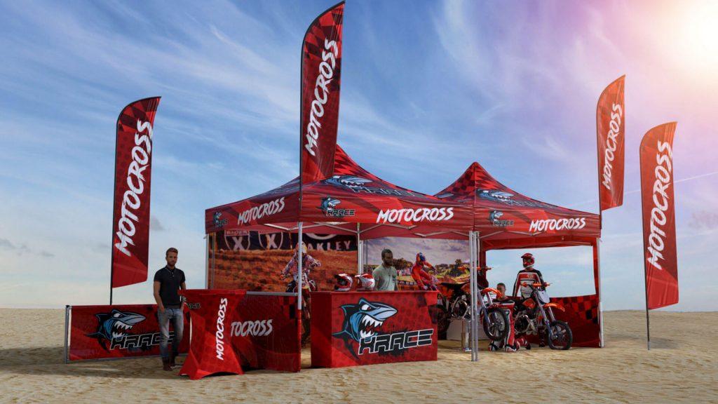 Tente pliante pour univers motocross en 3D