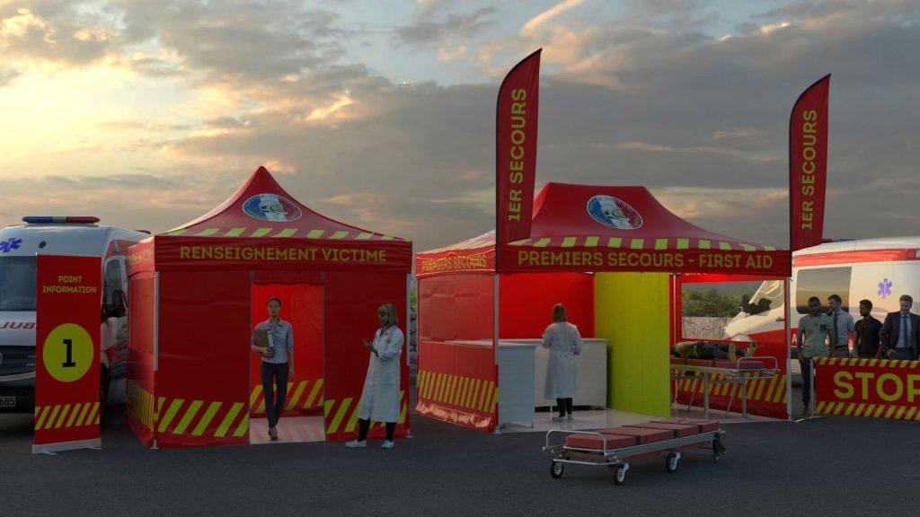 exemple d'implantation de tente pour le secourisme