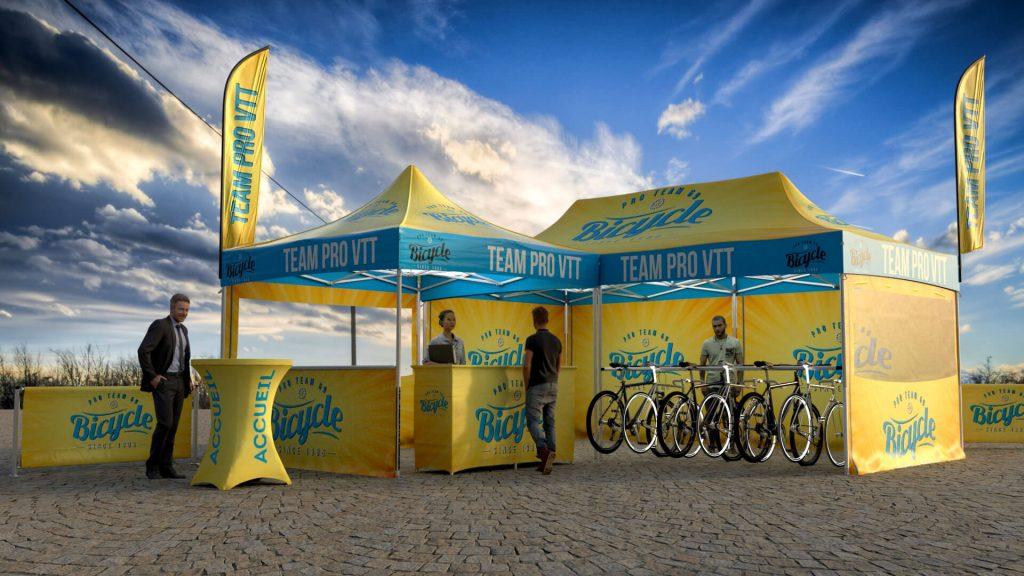 stand VTT 3D pour présenter et louer vos vélos lors d'événements