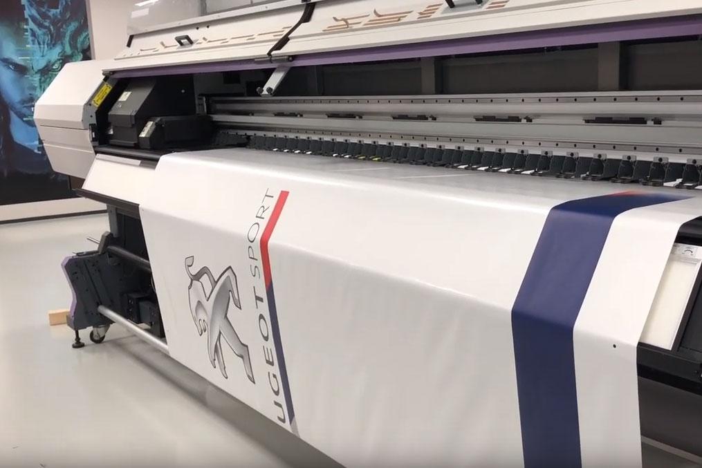 Vidéo de l'impression de bâche de tente pliante pour Peugeot Sport