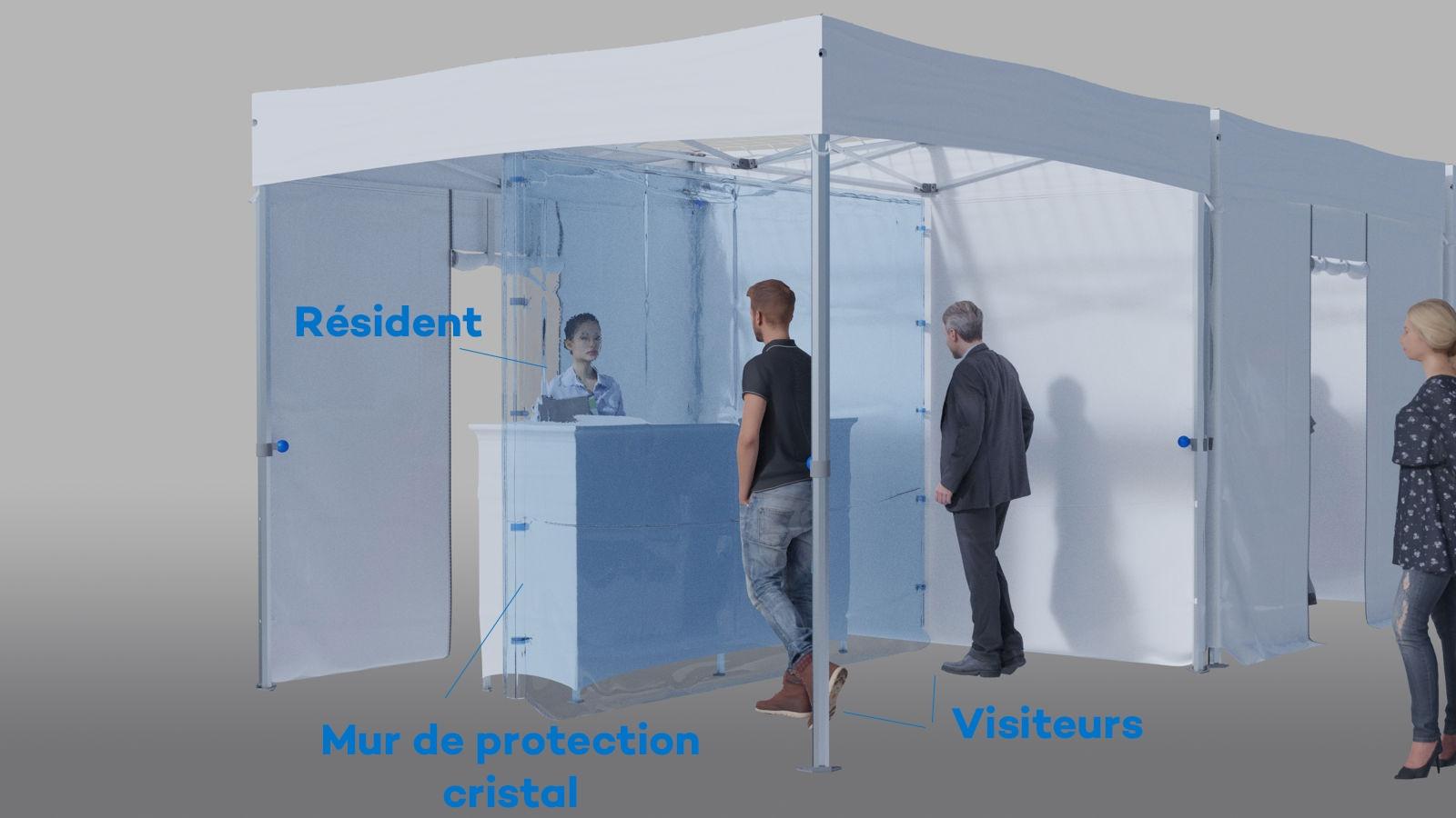 Tente indoor parloir pour EHPAD vue intérieure