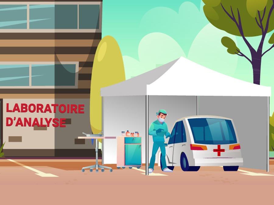 Tente drive testing devant les laboratoires d